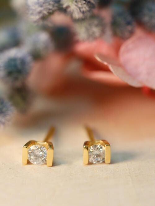 Diamond Stud Earrings | Solid 14k Gold | Bezel Setting | Minimal Jewelry |April Birthstone