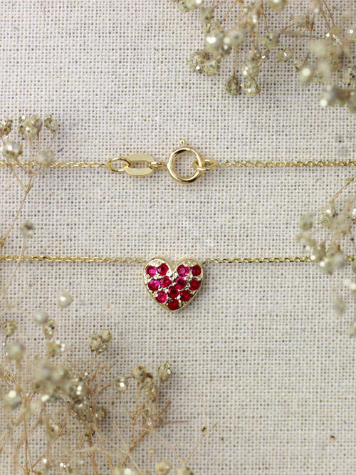 Petite Ruby Heart Necklace