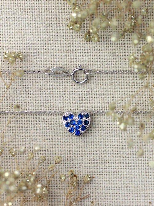 Petite Blue Sapphire Heart Necklace