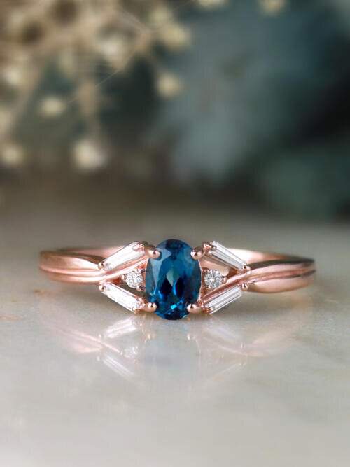 London Blue Topaz and Baguette Diamond Solid 14 Karat Gold Engagement Ring