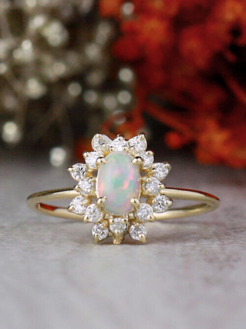 Oval Opal and Celestial Diamond Halo Solid 14 Karat Gold Engagement Ring