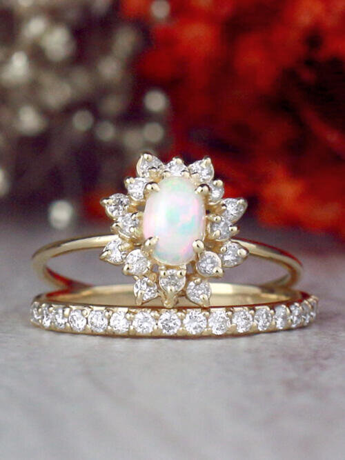 SET: Opal and Celestial Diamond Halo Ring and 1.9MM Diamond 14K Gold Band
