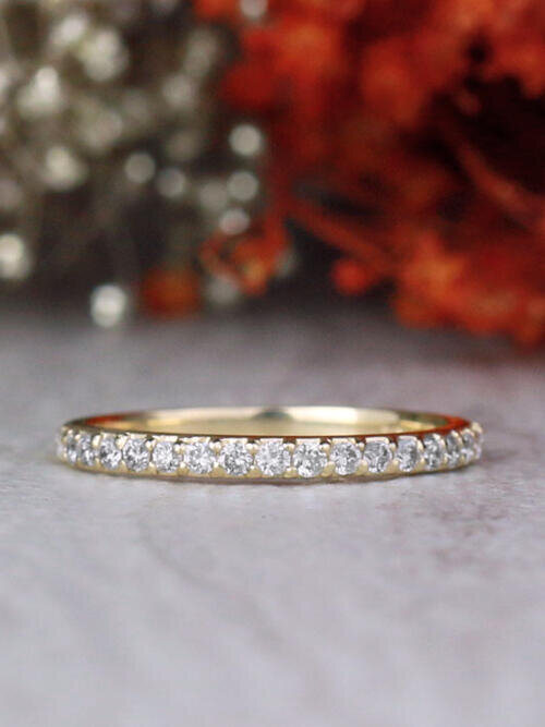 1.9MM Diamond Shared Prong Slim Solid 14 Karat Gold Wedding Band