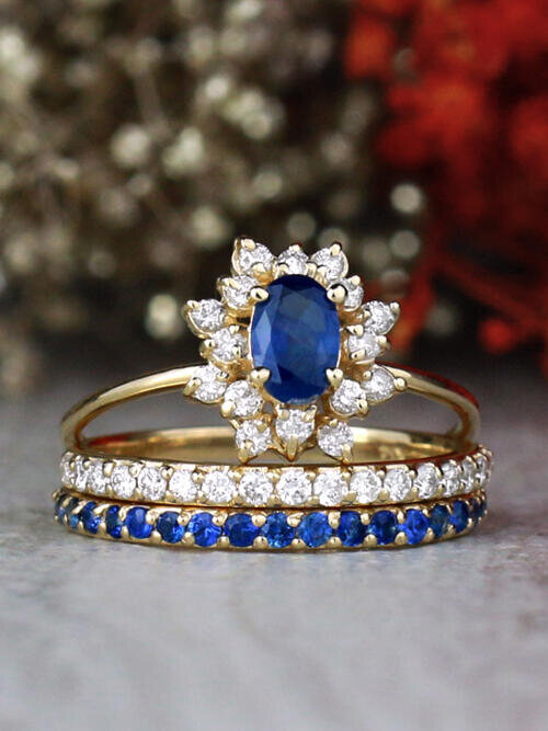 SET: Blue Sapphire and Celestial Diamond Halo Ring With Matching Diamond and Sapphire 14K Gold Bands