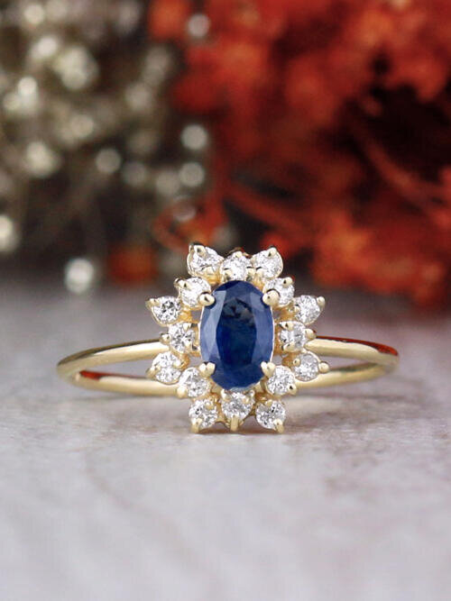 Oval Blue Sapphire and Celestial Diamond Halo Solid 14 Karat Gold Engagement Ring