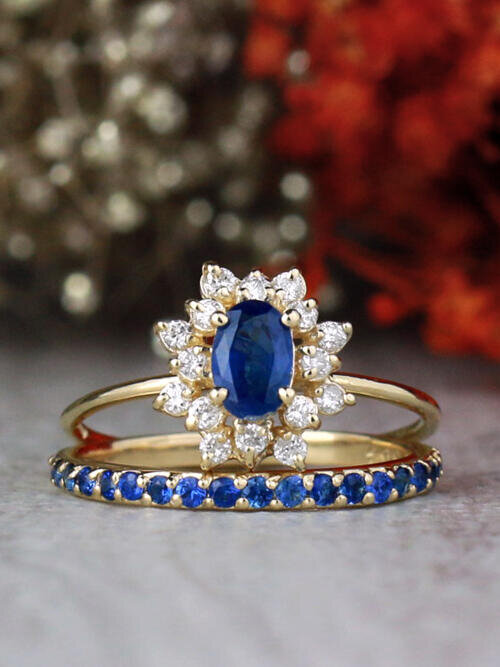 SET: Blue Sapphire and Celestial Diamond Halo Ring and 1.9MM Sapphire 14K Gold Band