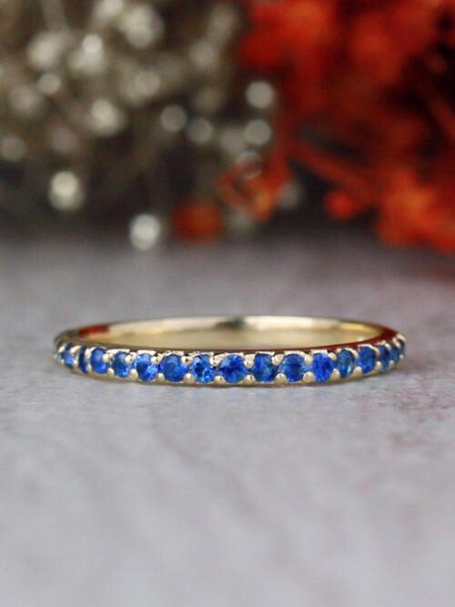 1.9MM Blue Sapphire Shared Prong Slim Solid 14 Karat Gold Wedding Band