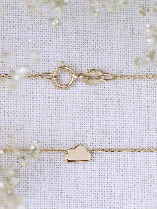 3.3X5.5MM Petite Whimsical Cloud 16 Inch Solid 14K Gold Necklace