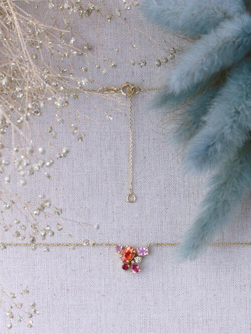 Berry Crush Cluster 16-18 Inches Solid 14K Gold Necklace