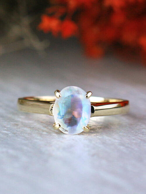 7X5MM Oval Solitare Rainbow Moonstone Solid 14K Gold Engagement Ring