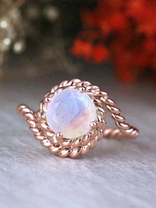 Bohemian Vine Round Rainbow Moonstone Solid 14K Gold Engagement Ring