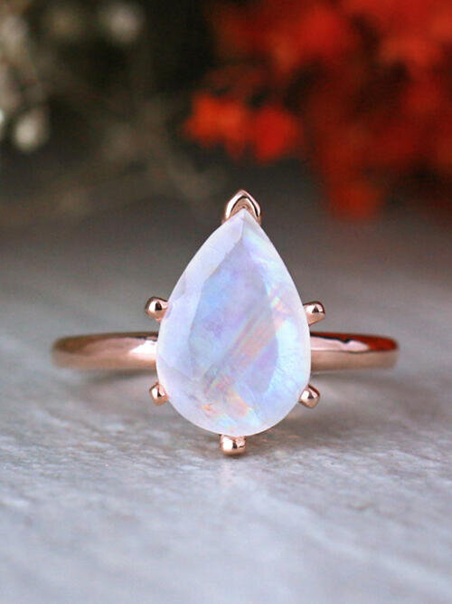 13.5x9.5MM Pear Shaped Rainbow Moonstone Solid 14K Gold Engagement Ring