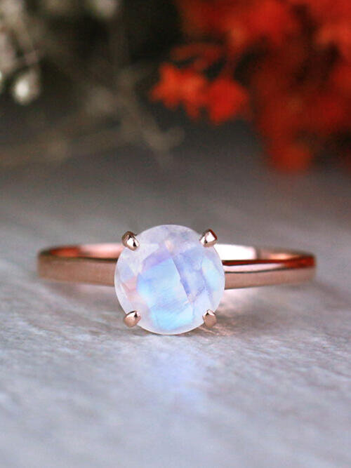 7x7MM Round Rainbow Moonstone with Lotus Basket Solid 14K Gold Engagement Ring