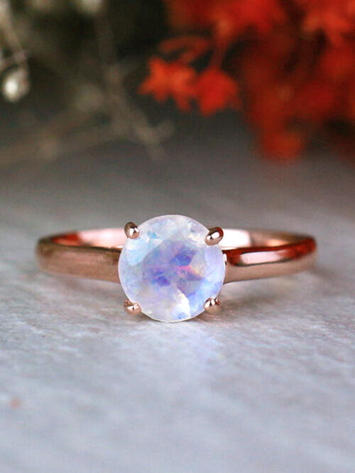 7X7MM Round Rainbow Moonstone Classic Solid 14K Gold Engagement Ring