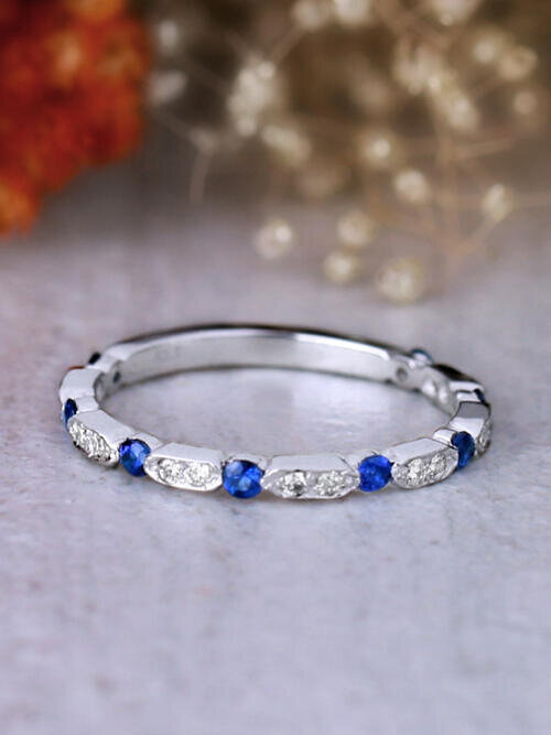 1.9MM Blue Sapphire and Diamond Solid 14 Karat Gold Wedding Band