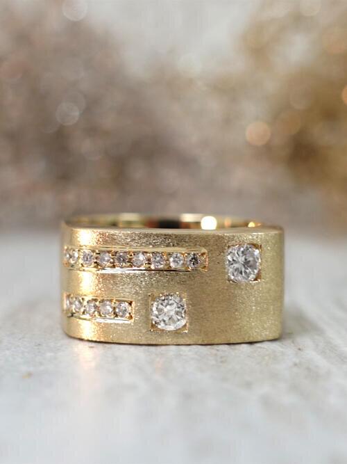 Stylish Bezel and Channel Diamond Solid 14 Karat Gold Men's Wedding Band