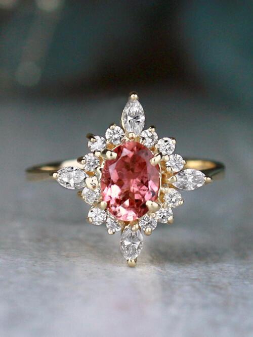 Salmon Pink Tourmaline North Star Solid 14 Karat Gold Engagement Ring