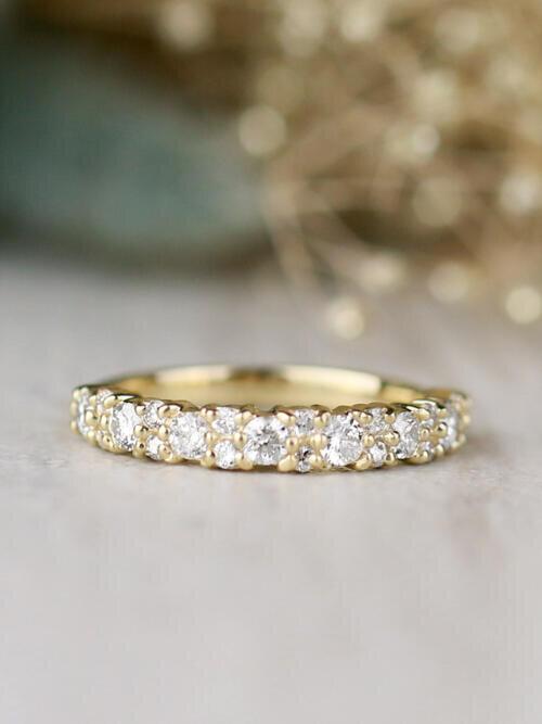 3.5MM Diamond Cluster Solid 14 Karat Wedding Band