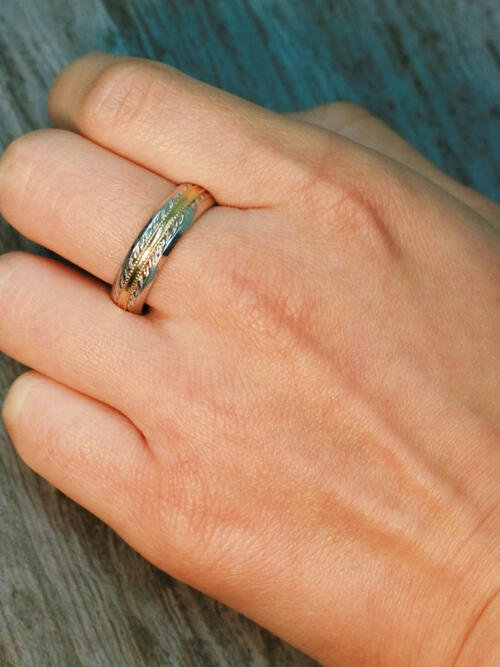 Two Tone Men S Edges Ring Solid 14k Gold