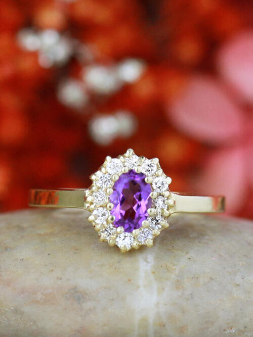 Amethyst and Diamond Halo Engagement Ring | Prong Setting | Polished Finish | Solid 14K Gold