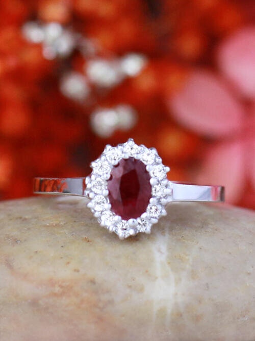 Ruby and Diamond Halo Engagement Ring | Prong Setting | Polished Finish | Solid 14K Gold