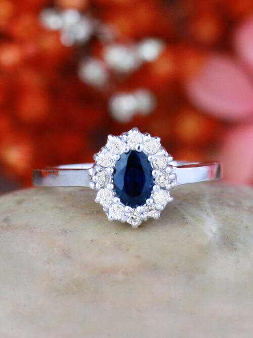 Blue Sapphire and Diamond Halo Engagement Ring | Prong Setting | Polished Finish | Solid 14K Gold
