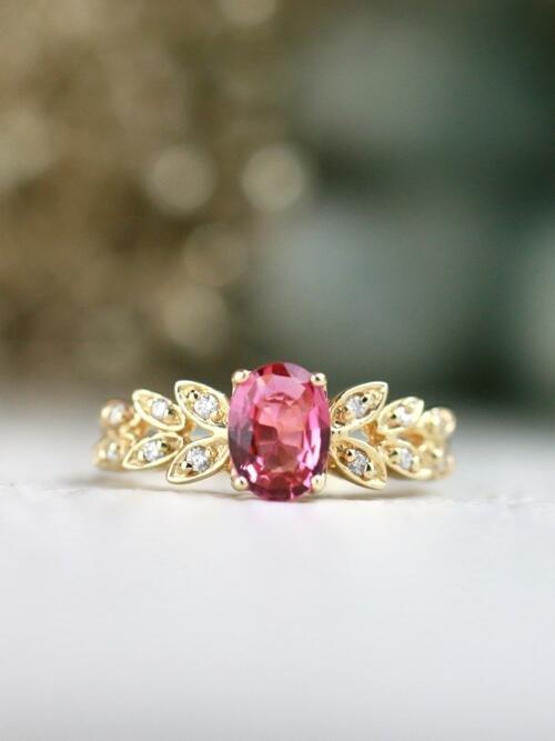 Rosette Pink Oval Tourmaline Vintage 14K Engagement Ring