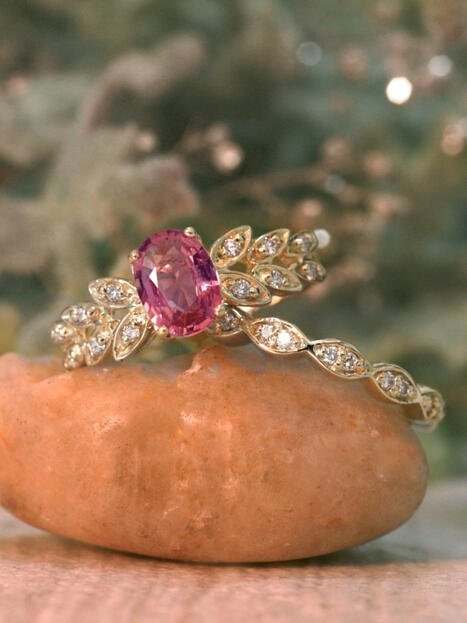 Natural Tourmaline and Marquise Leaf Diamond Engagement Ring Set