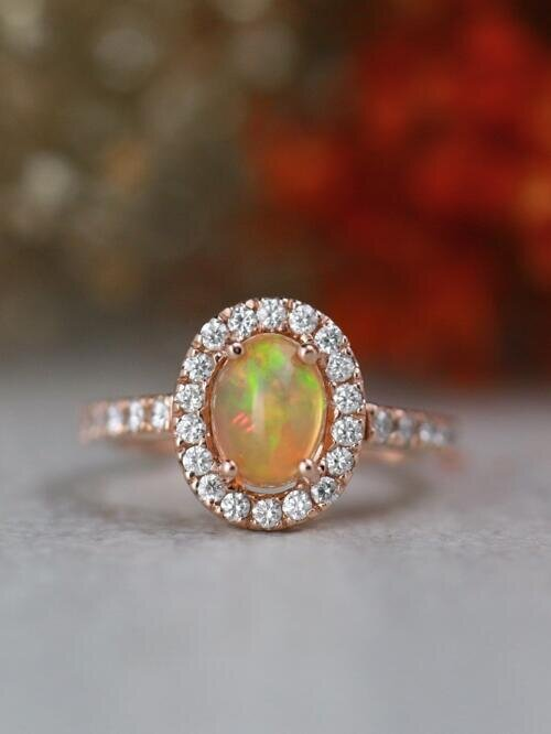 7x5MM Oval Ethiopian Opal Diamond Halo Engagement Ring