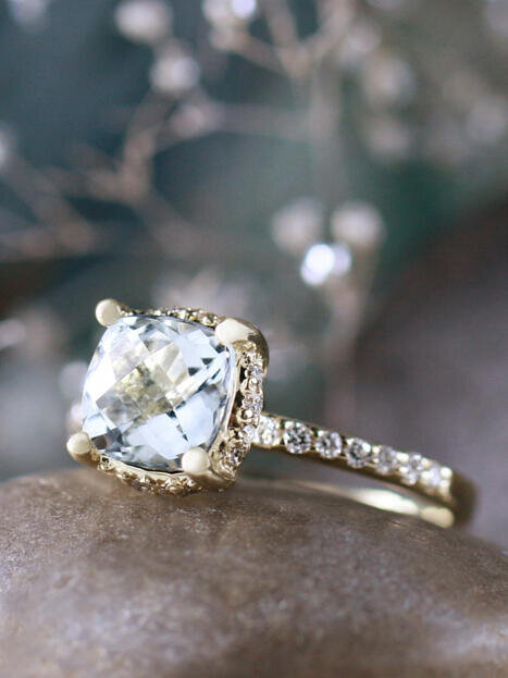 Cushion Aquamarine with Diamond Basket 14 Karat Engagement Ring