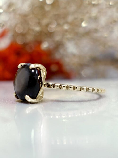 Oval Shaped Star Sapphire with Miligrain Design 14 Karat Engagement Ring