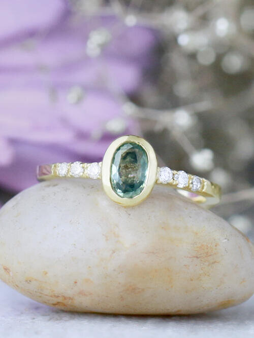 Oval Green Sapphire Bezel and Diamond Engagement Ring