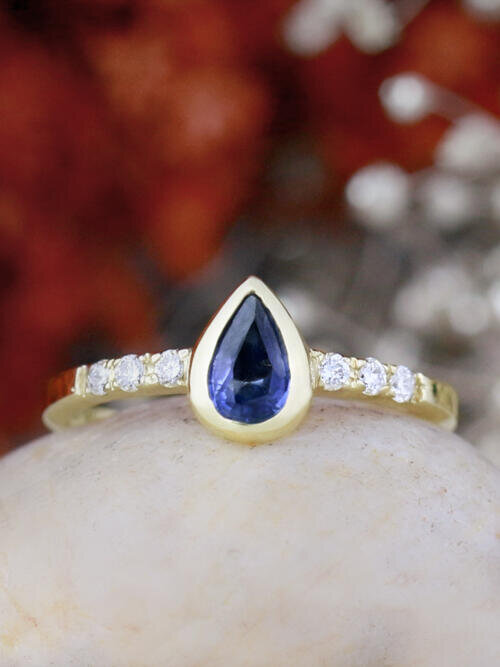 Pear Shaped Blue Sapphire Bezel Engagement Ring
