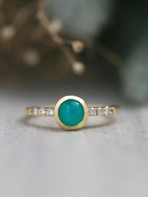 Teal Cabochon Tourmaline Bezel 14 Karat Ring (One-of-A-Kind)