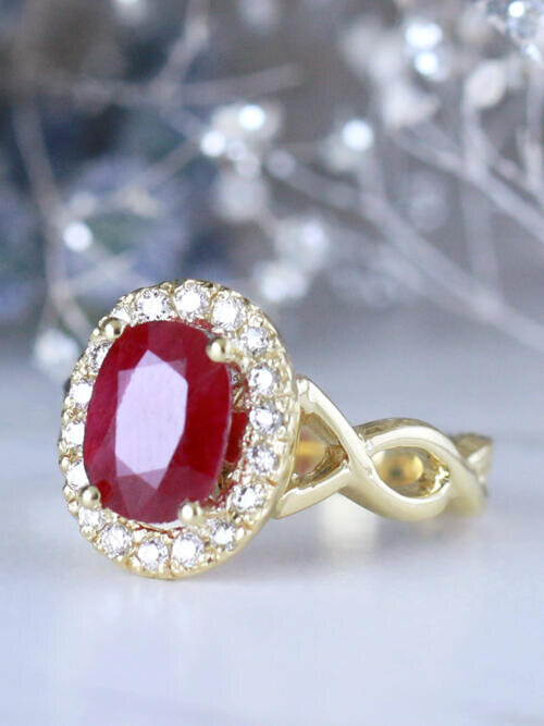 8X6MM Oval Natural Ruby 14 Karat Engagement Ring