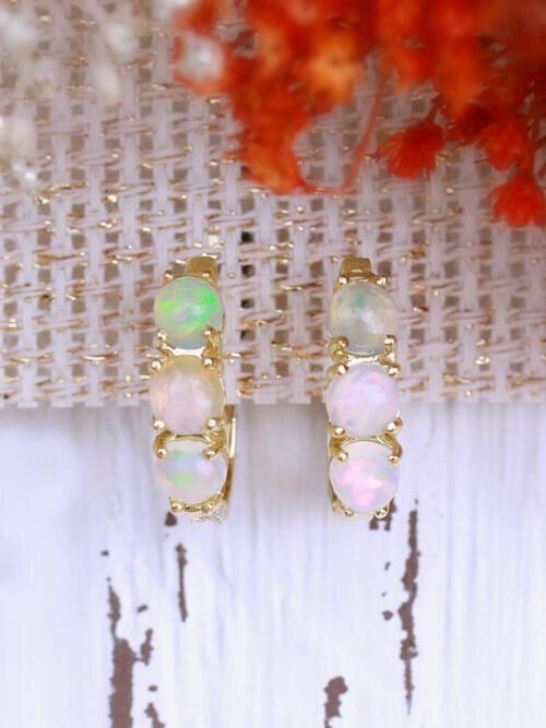 Round Opal Huggie Solid 14 Karat Gold Earrings