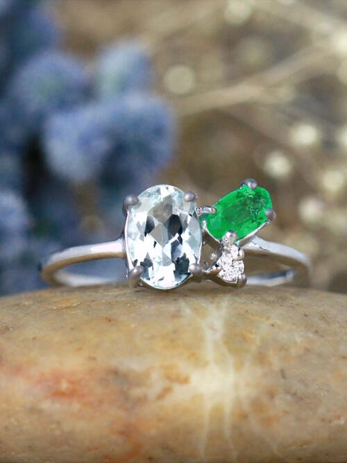 Aquamarine, Emerald, and Diamond Cluster 14 Karat Gold Ring