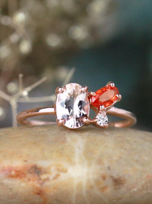 Morganite, Orange Sapphire, and Diamond Cluster 14 Karat Gold Ring