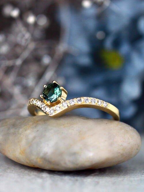 Blue-Grey Tourmaline Teardrop 14 Karat Gold Ring