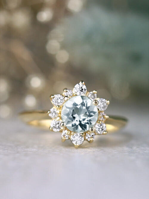 Round Aquamarine and Celestial Diamond Halo 14 Karat Gold Engagement Ring