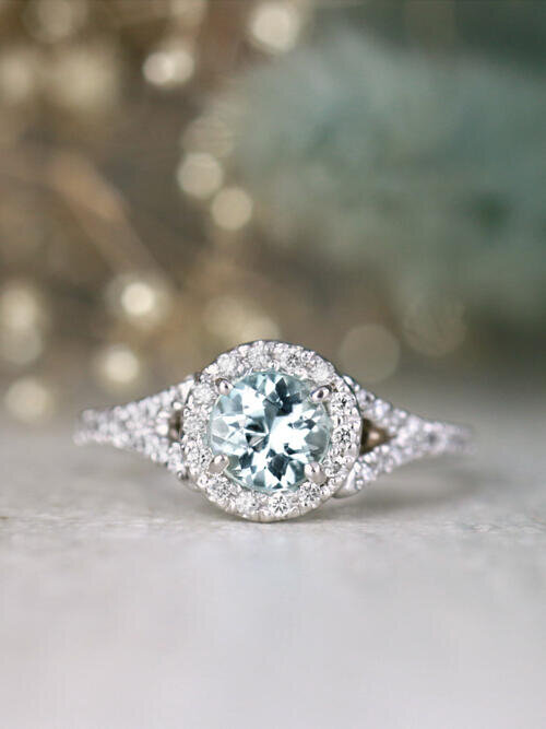Round Aquamarine and Diamond Halo with Surprise Detail 14 Karat Gold Engagement Ring