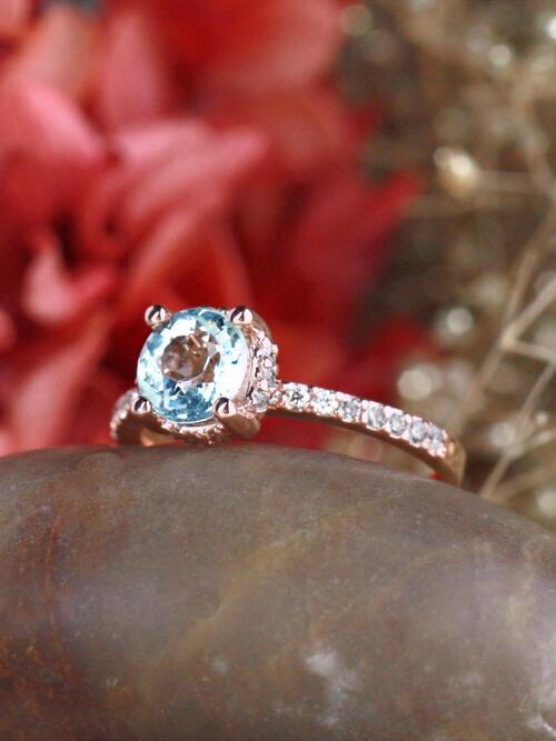 Round Aquamarine with Diamond Basket and Band 14 Karat Gold Engagement Ring