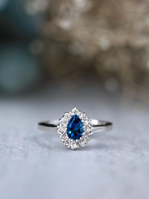 Pear Shaped London Blue Topaz and Diamond Halo Solid 14 Karat Engagement Ring