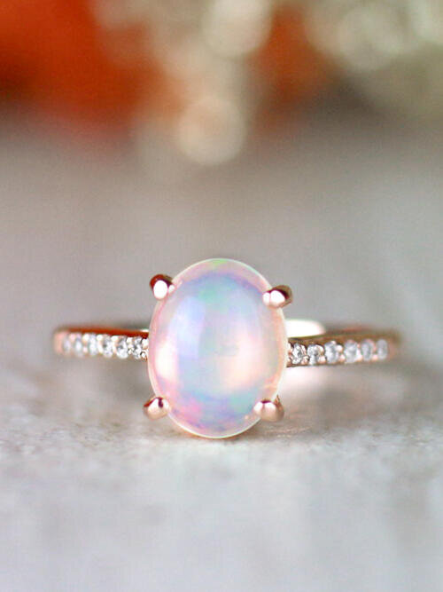 Oval Opal and Diamond Solid 14 Karat Gold Engagement Ring