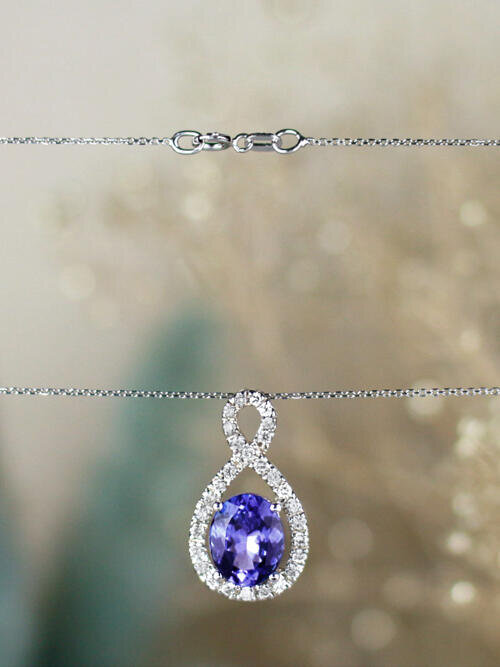 10x8MM Oval Tanzanite Infinity Diamond Halo Solid 14 Karat Gold Pendant Necklace