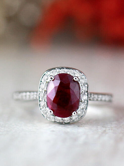 8x6MM Natural Ruby and Diamond Cushion Halo Solid 14 Karat Gold Engagement Ring