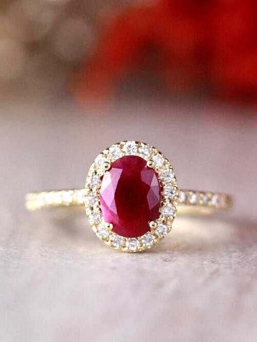 8x6MM Natural Oval Ruby and Diamond Halo Solid 14 Karat Gold Engagement Ring