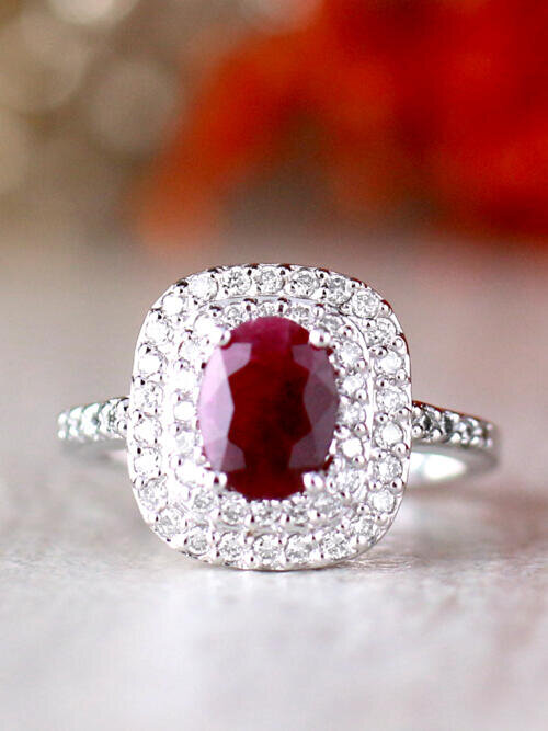8x6MM Natural Ruby and Double Diamond Cushion Halo Solid 14 Karat Gold Engagement Ring