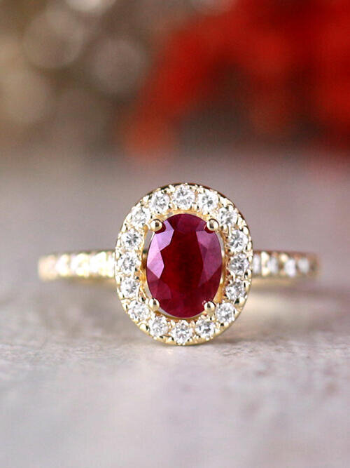 9x5MM Natural Oval Ruby and Diamond Halo in Cathedral Setting Solid 14 Karat Gold Engagement Ring