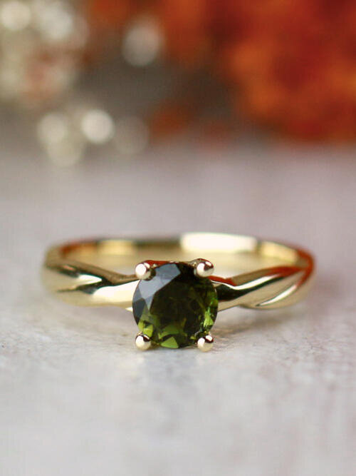 Green Tourmaline Solitaire and Twisted Vine Solid 14 Karat Gold Engagement Ring